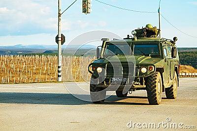 Russian armoured truck in Crimea, Ukraine Editorial Photo