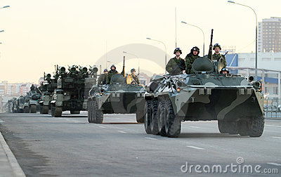 Russian army military vehicles in downtown Moscow Editorial Photography