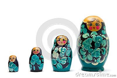 Russian babushka nesting dolls line isolated