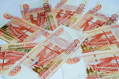 Russian banknotes close up