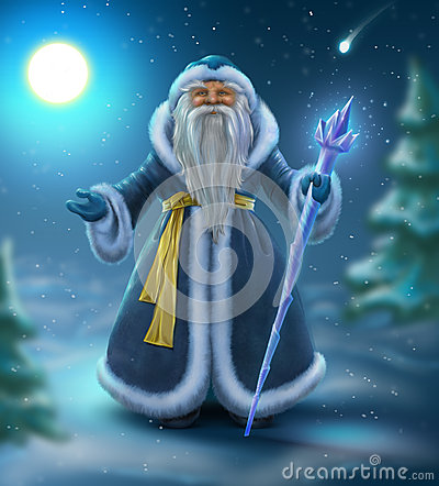 Russian blue Santa outdoors Stock Photo