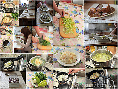 Russian cabbage soup cooking