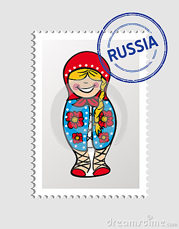 Russian cartoon person postal stamp