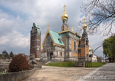 Russian chapel and jugendstil tower