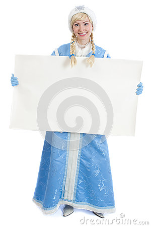 Russian christmas girl with blank banner