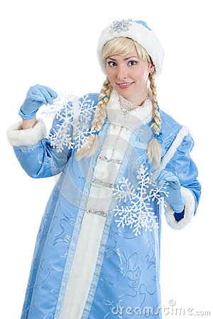 Russian christmas girl with flake of snow