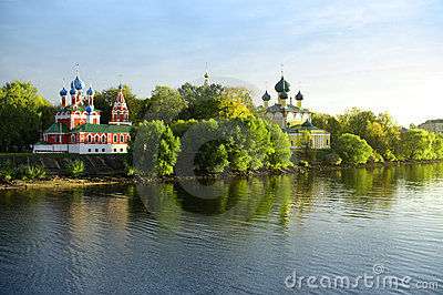 Russian churches about the river