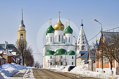 Russian city Kolomna in snow