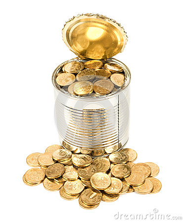 Russian coins in the can