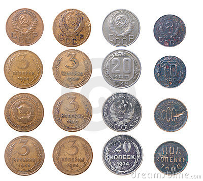Russian coins.isolated