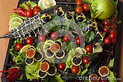 Russian cuisine - baked sturgeon