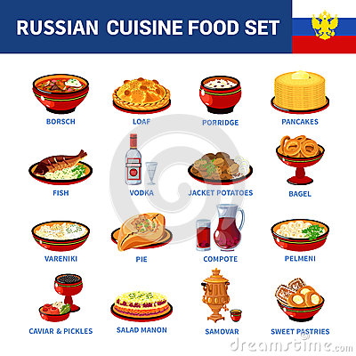 Free Russian Cuisine Dishes Flat Icons Collection Stock Photos - 68305903