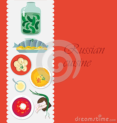 Russian cuisine. Template for menu with cooking utensils and food Vector Illustration