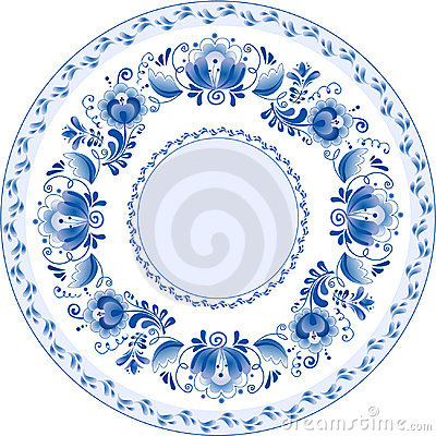 Russian decorative ornamental plate. Ghzel