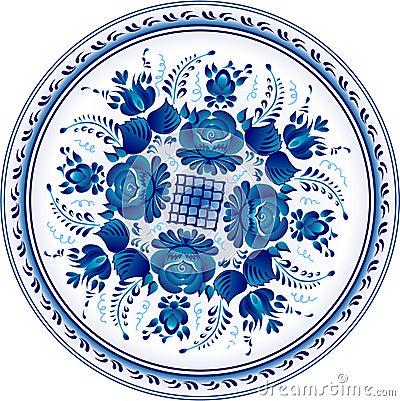 Russian decorative ornamental plate. Gzhel
