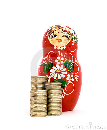 Free Russian Doll And Piles Of Coins Stock Image - 10945151