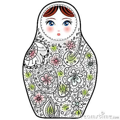 Russian Doll Matrioshka Babushka Sketch On White ...