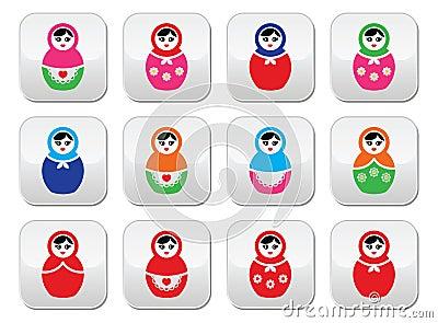 Russian doll, retro babushka vector colorful buttons set