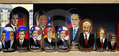 Russian dolls with politician portraits on sale Editorial Photo
