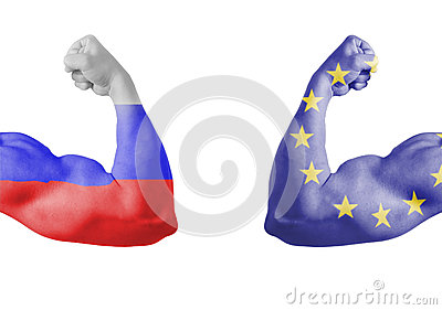Russian and europe union flag