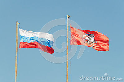 Russian flag and the flag of Moscow