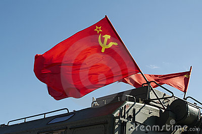 Russian Flag flying on Army ve