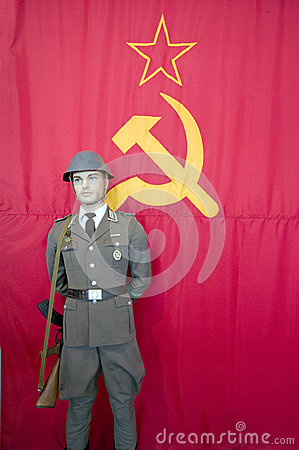 Russian flag and soldier Editorial Image
