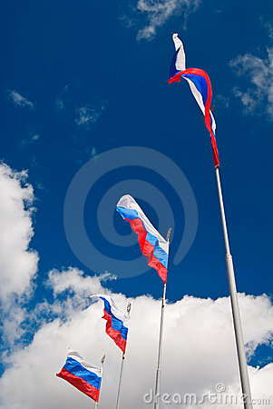 Russian flags waving