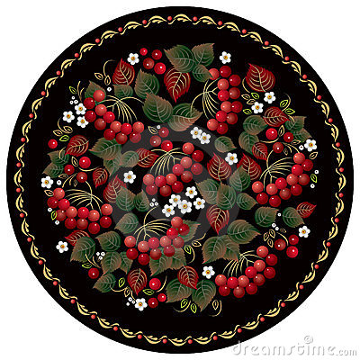 Russian folk handicraft painting with red