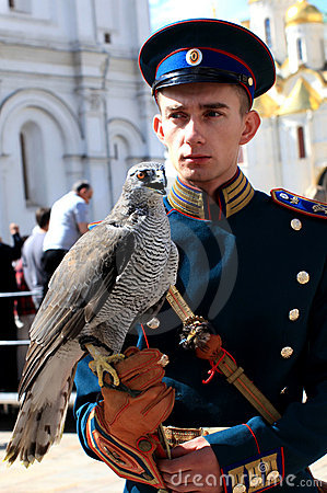 Russian guardian with falcon Editorial Photography