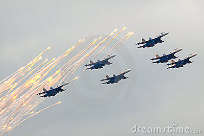 Russian Knights on SU-27 Editorial Photography