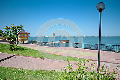 Russian lake with restaurant and boat