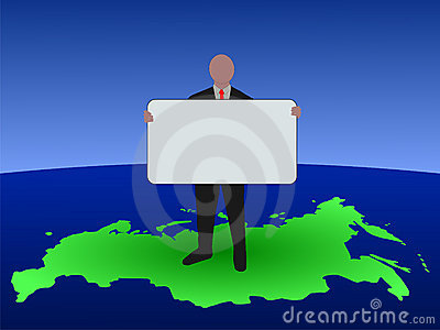 Russian man with blank sign