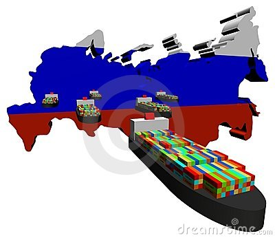 Russian map flag with ships