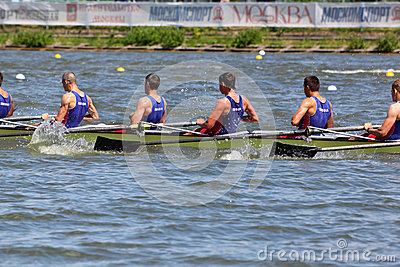 Russian men teams rowing at boat Editorial Stock Photo
