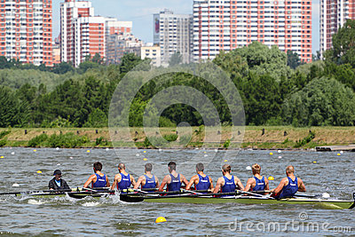 Russian men teams rowing participate Editorial Image