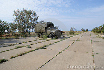 Russian military truck on airbase