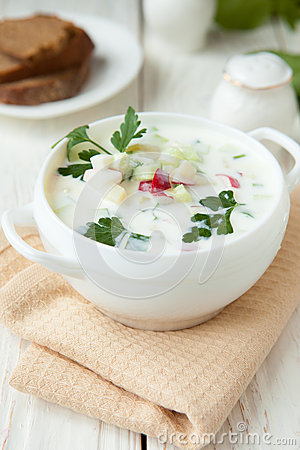 Free Russian Okroshka With Yogurt And Vegetables, Royalty Free Stock Image - 30378586