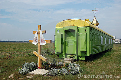 Russian orthodox church in the railway wagon