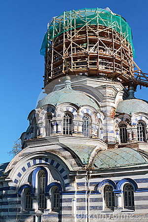 Free Russian Orthodox Church Under Restoration Royalty Free Stock Images - 59665199
