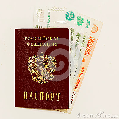 Free Russian Passport And Cash On Whine Stock Image - 49833031