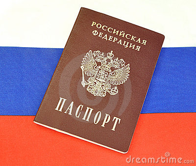 Russian passport on the flag