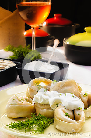 Russian Pelmeni (Dumplings) with Fennel and Smetana (Sour Cream)