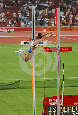 Russian Pole vaulter breaks world record Editorial Image