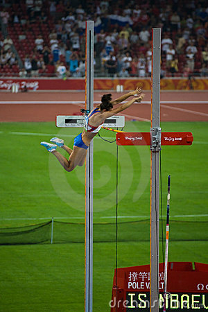 Russian Pole vaulter breaks world record Editorial Stock Image
