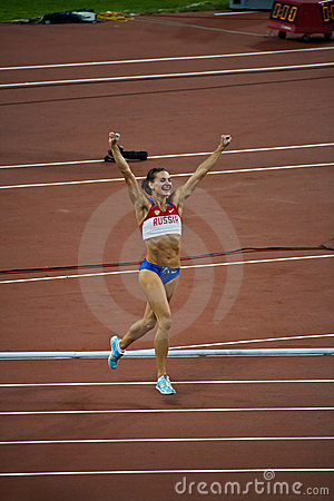 Russian pole vaulter celebrates new world record Editorial Stock Image