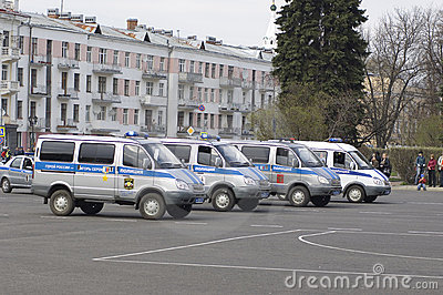 Russian police cars Editorial Photography