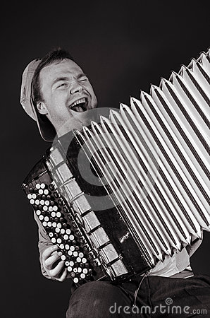 Russian poor man with an accordion