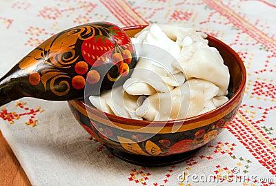 Tradicional russian ravioli with meat ( Pelmeni )