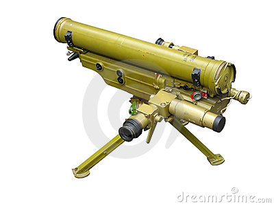 Russian rocket launcher isolated over white
